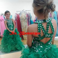 Wholesale Rachel Allen Green Girls Pageant Dresses Ruffle Organza Princess Cupcake Gowns Tiered Skirt Crystal Floor Length Flower Girl Dress