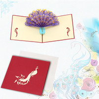 Wholesale Perfect D Pop Up birthday Wedding party Card Peacock Design Christmas Postcard New Year Greeting Card Handmade Folding Kirigami H16166