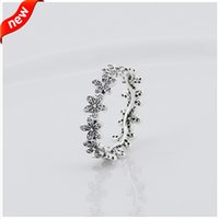 Wholesale Compatible with Pandora jewelry ring daisy silver rings with cubic zircon sterling silver jewelry DIY