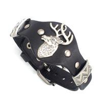 Wholesale Deer Elk Wapiti Watch Watchband Design Adjustable Leather Charm Bracelet Bangle Punk Rock Hiphop Amulet Fashion Jewelry
