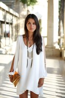 white blouses - Sexy Fashion Women s Loose Irregular Chiffon Shirts Blouse White Dress TOP Long Split Sleeves Clothing