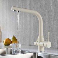 beige sink - Ice Cream Sand Beige Kitchen Faucet Tri Flow Swivel Sink Mixer Way Water Filter Tap
