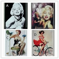 metal wall decor - 11X cm Marilyn Monroe Vintage Metal Painting Retro Poster Tin License Plate Wall stickers Decoration Home Decor Art Tin Sign