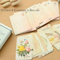 Wholesale 4 set Vintage tin box Message pack pieces Green cards for Wedding party invitation postcard Thanks Message zakka