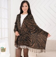 Wholesale Cotton twill scarf for women adult large size pashmina black and coffee color tiger striped shawl with tassel
