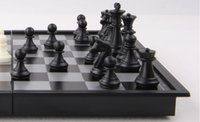 Wholesale Chess Set Top Quality Wooden Chess Pieces Folding Board Set magnetic chessman Travel Home board game Collection