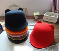 Wholesale New Fashion Cat Ears Little Devil Equestrian Caps Pure Wool Spring Autumn England wind Horse Riding Hats