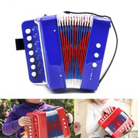 2 to 5 years accordions - New Arrival Key Bass Mini Small Accordion Black Red Blue Educational Musical Instrument Toy Gift for Kids Children I907