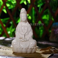 porcelana blanca un Buddism godness Guanyin, la estatua de Buda, budismo Kwan-yin estatuilla, figura del Buda, tamaño pequeño!