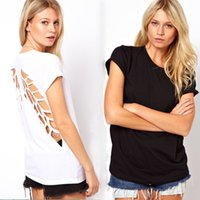 backless tops women - New Fashion T shirt Backless Angel Wings Women s White Black Shorts Tops Tees blouses For Woman Woman clothes