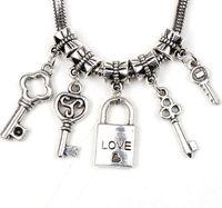 bulk european bead - MIC Bulk Styles Love Key Lock Dangle Charm Big Hole Beads Dangle Fit European Pandora Bracelet Jewelry DIY