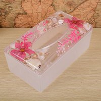 Wholesale H2612 AW111S Mediterranean shellfish tissue boxes crystal ornaments household ornaments living room