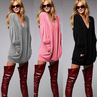 Wholesale T Shirts spring autumn yards pocket colors v neck long sleeved t shirt dress shirt Knits Tees Womens tops