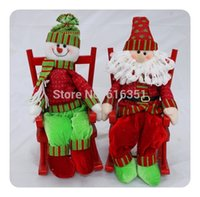 best christmas figurines - New item best seller sitting wood chair santa clause snowman two deisgns new year christmas figurines home decoration
