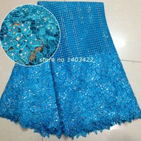 Wholesale stone lace African Cord lace high quality stuins water soluble guipure lace fabric turkeyblue SH2087