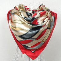 Wholesale Women Scarf China Style Satin Big Square Scarf Printed Ladies Brand Rayon Silk Scarf Fashion shawl cm