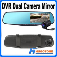 Wholesale 4 inch HD P Car DVR Mirror Dual Camera GPS Rear view Blue Mirror CMOS Lens Recorder PIP Display Night Vision