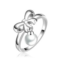 Wholesale 925 Silver Jewelry Unique Bow Wedding Rings For Women With Pearl Special Design Punk Rings For Men In Great Quality Anillos LKNSPCR593