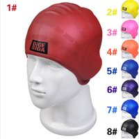 Wholesale Hot Selling Pro Elastic Adult Unisex Silicone Swimming Red Yellow Black Blue Latex Cap Hats LN
