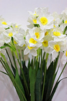 artificial narcissus - Display flower narcissus artificial flower Daffodil flower pu flower for home and garden wedding decoration