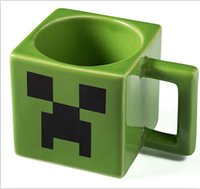 Wholesale Cartoon Minecraft Creeper Face Ceramic Coffee Mug Green Color Drinkware Mugs Cups Water Bottles Christmas Decorations in stock