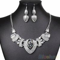 Wholesale Wedding Women s Vintage Rhinestone Choker Chain Necklace Earrings Jewelry Set SU