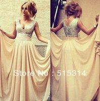 Wholesale A word custom new fashion beaded chiffon prom party dress sexy women dress H6 vestidos Day Carnival