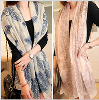 Wholesale Fashion women long scarf blue and white porcelain Velvet chiffon scarves Wraps shawl opera cape cappa collar wraps scarf