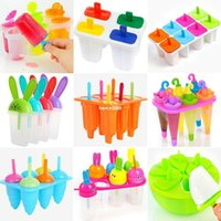Cheap Wholesale 6 Cell Frozen Ice Cream Mold Popsicle Maker Lolly Mould Tray Pan Kitchen DIY 5 Versions
