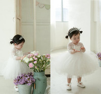 Girl Lace Tulle 2016 New Arrival White Tulle Layered Little Girl Princess Dress Cute Lace Flower Girls Dress Baby Girl Birthday Gift Dresses Pageant Gowns