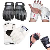 ufc gloves - Pair of Durable Boxing Fight Gloves Sparring Grappling UFC MMA Sanda Black White