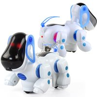 Wholesale New Cute Baby Kids Educational Toy Electronic Pets Walking Robotic Dogs Puppy With Music Light Blue x12 x15 cm