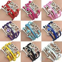 Wholesale Womens Retro Love Anchor Key Charm Multilayer Leather Bracelet D8W