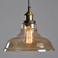 amber glass lamps - E27 Amber Glass Shade Ceiling Chandelier Fitting Vintage Retro Pendant Lamp Light Europe and America Style For Live Room YD33