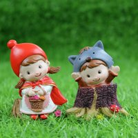 Wholesale If zakka creative cartoon Little Red Riding Hood and the Wolf magnets resin fridge magnet fairy tales