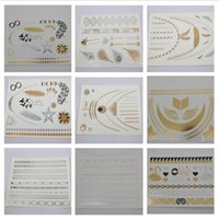 Wholesale 2016 Top Fashion High Quality Gold Silver Metalic Temporary Tattoos waterproof Gold Flash fake tattoo for Women Jewelry