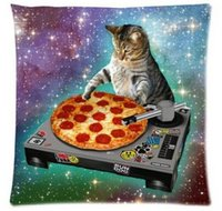 Wholesale Top Sale Creative Hipster DJ Cat Pizza Galaxy Fantastic Design Zippered Pillowcase DIY Pillowslip Bedding Set Pillow Case Cover