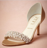 Wholesale 2015 Wedding Shoes Custom Made Bridal Pearls Beading Shoes Fashion Thin Low Heels Bridal Accessories Party Women Sandals Sumemr Style Satin
