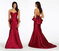 Cheap Burgundy Evening Dresses With Sweetheart Elastic Satin Peplum Ribbon Bow Mermaid Sweep Train Prom Dresses Party Evening Dresses