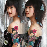 armband tatoo - pc AX31 Temporary Tattoo Arm Chinese Ancient Lady VS Fan waterproof Big size fake tatoo sticker art Arm Armband hand belly