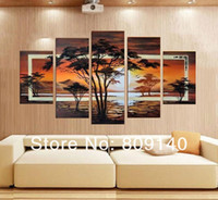 african artwork paintings - African Landscape oil painting canvas Big scenery artwork high quality handmade modern home office hotel wall art decor decoration free ship