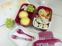 double ovens - Freeshipping portable double tier compartment Bento Lunch Box Food Container BPA Free Easy Open Lids microwave oven