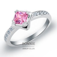 Wholesale Lovers gift white red pink square crystal ring fashion women shinning CZ diamond gemstone wedding rings sterling silver rings SR0671