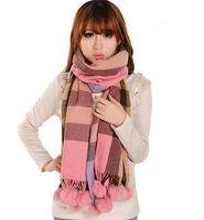 Wholesale FenYang rabbit fur balls scarf cashmere scarf CWJ0215