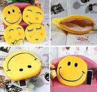 Wholesale New QQ expression yellow color coin purses cute emoji portable coin bag plush pendant women bag accessories MYF214
