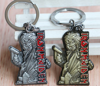 band hero music - 2015 New Style Super hero Color Iron Maiden Music Band Key Ring Death Logo Metal Keychain Movie Jewelry