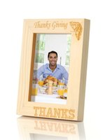 Wholesale quot Thanksgiving THANKS quot Handmade Curved Wood Photo Frame with Retail Box x6 Vertical Stock in US Canada
