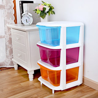 Wholesale Children three drawer storage cabinets baby bedroom clothes locker transparent plastic drawers Assembly