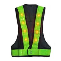 Wholesale 16 LED Light Up Safety Vest With Reflective Stripes Kevlar Tactical Vest Neon lime V clothing Safety Belt Article Printing A5