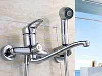 Cheap TOP- Free shipping new Wall Mounted Bathroom Bathtub Handheld Shower Tap Mixer Faucet +shower hand